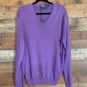 NWT Polo Ralph Lauren purple v neck sweater, XL